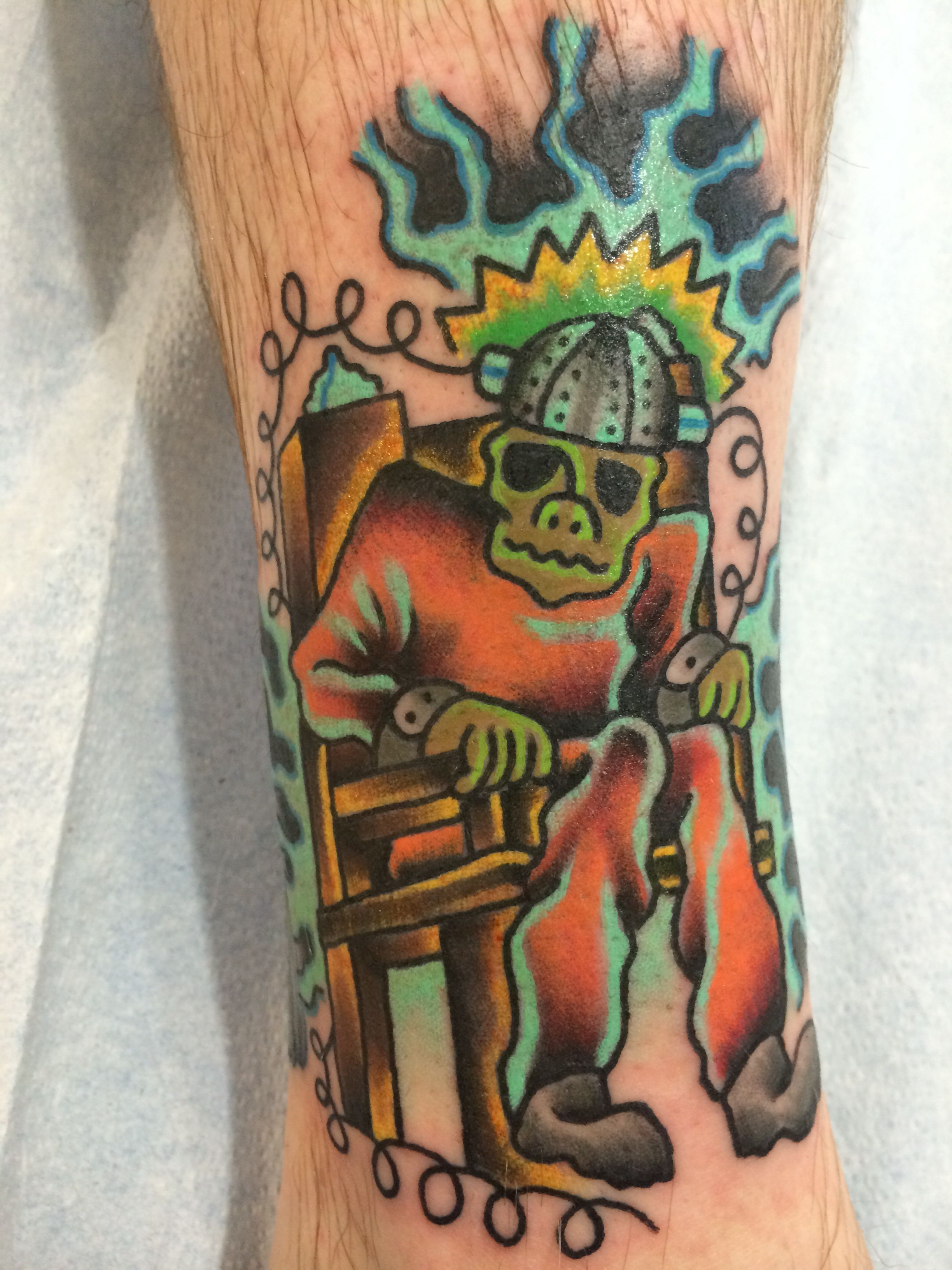 Electric chair guy i made tradional tattoo drinking tea