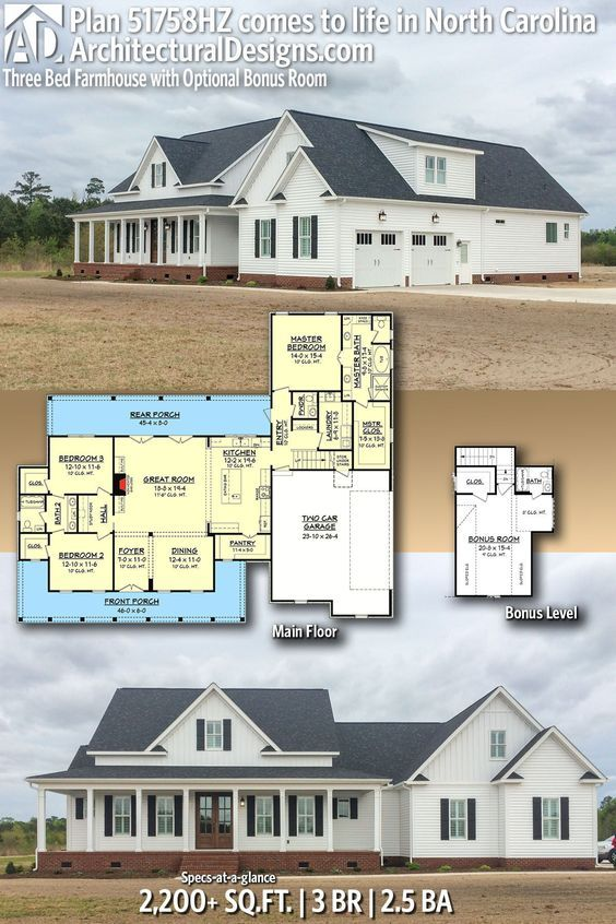 Plan 51758hz Three Bed Farmhouse With Optional Bonus Room In 2020 House Plans Craftsman