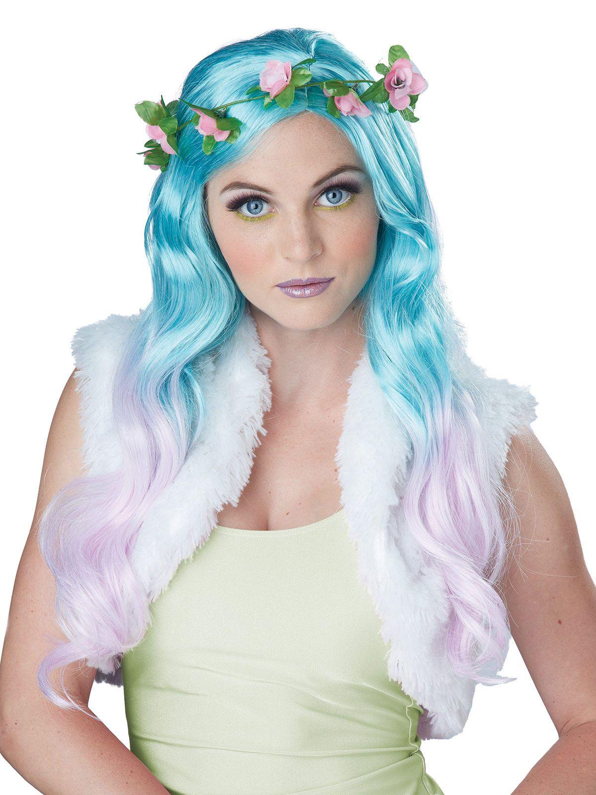 Damen Perücke Elfe zum Hexe Kostüm Nixe zu Halloween Karneval Fasching