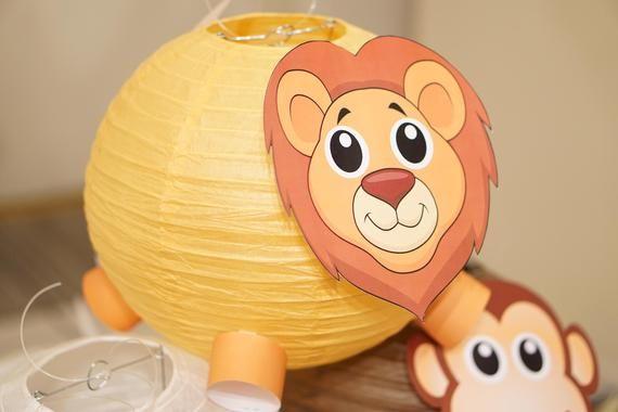 Set Of 12 Party Decoration Animal Lanterns Jungle Theme