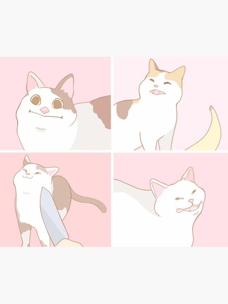 Meme Cats Sticker By Axiebubble In 2021 Drawing Meme Cat Memes Cute Drawings