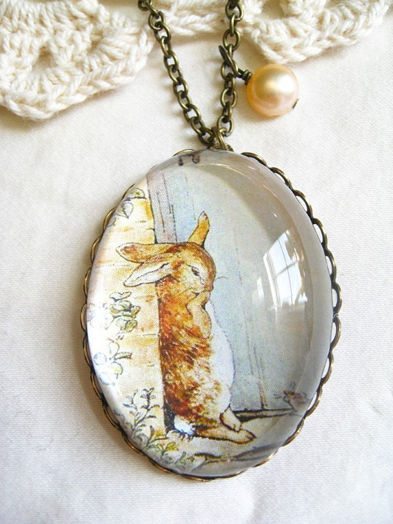 4b37e11478a3 Peter Rabbit Crying Necklace (beatrix potter. magnifying pendant. art book  illustration. fairytale j