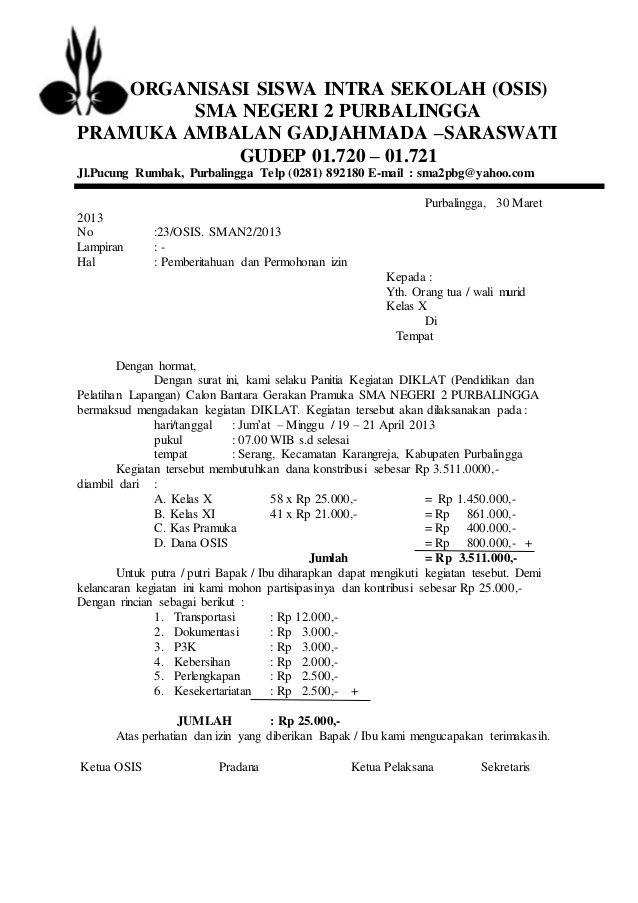 Contoh Surat Resmi Osis Surat Pendidikan Dasar Sekolah