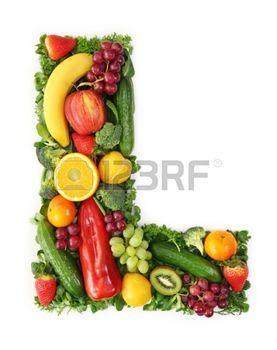 fruit vegetable alphabet Alfabeto de frutas y hortalizas  letra