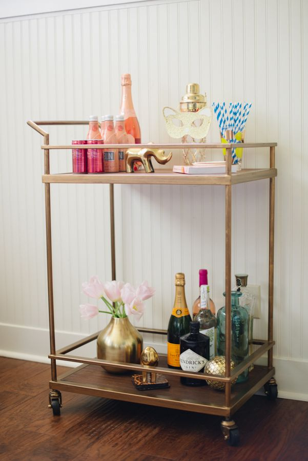 Target Bar Cart Glitter Guide Goldener Servierwagen Dekor Idee