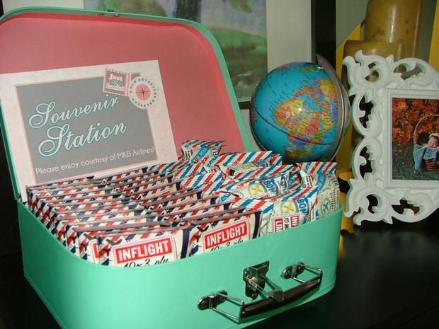 vintage travel themed baby shower flight and cargo via inflight souvenirs