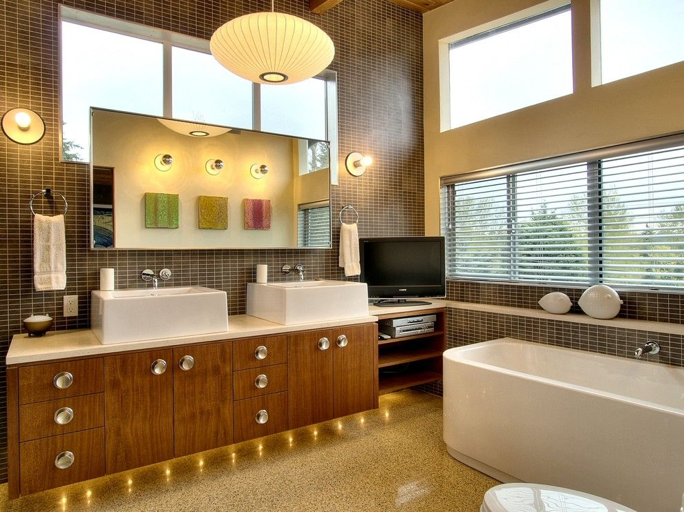Marvelous Bathroom, Gorgeous Mid Century Modern Bathroom Vanity Design From Wood Wih  Crystal Decoration And Mounted Sinks Beneath Wall Mirror With Various  Lighting ...