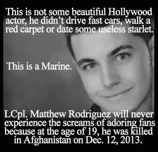 RIP Corporal Rodriguez. Praying for God to bless your family and for America to make it a priority to take care of those you left behind and never forget the price you paid. Honor the fallen... Memorial Day & every day.