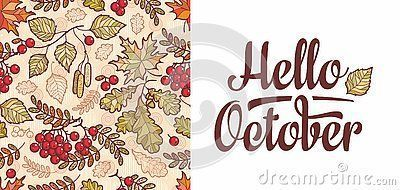 Hello October lettering phrase text. Autumn leaves seamless pattern with Rowan, maple, birch and oak. Fall leaf design.Foliage forest leaf vector. Red, Green, brown and yellow falling autumn leaves #autumnleavesfalling Hello October lettering phrase text. Autumn leaves seamless pattern with Rowan, maple, birch and oak. Fall leaf design.Foliage forest leaf vector. Red, Green, brown and yellow falling autumn leaves #hellooctober Hello October lettering phrase text. Autumn leaves seamless pattern w #autumnleavesfalling
