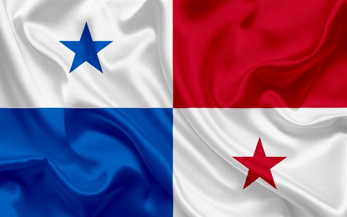 Download wallpapers Panama flag, Panama, silk flag, national symbols, Central America