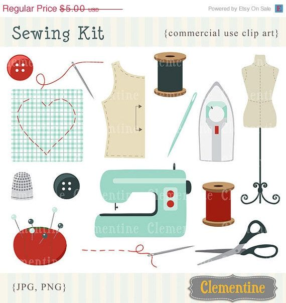 40% OFF SALE - Retro sewing clip art, retro clip art images, royalty ...