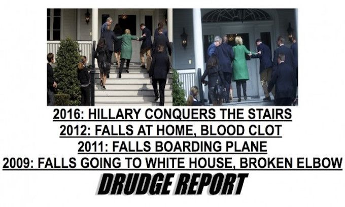 Drudge posts photo of Hillary unable to ascend stairs on her own; media goes…