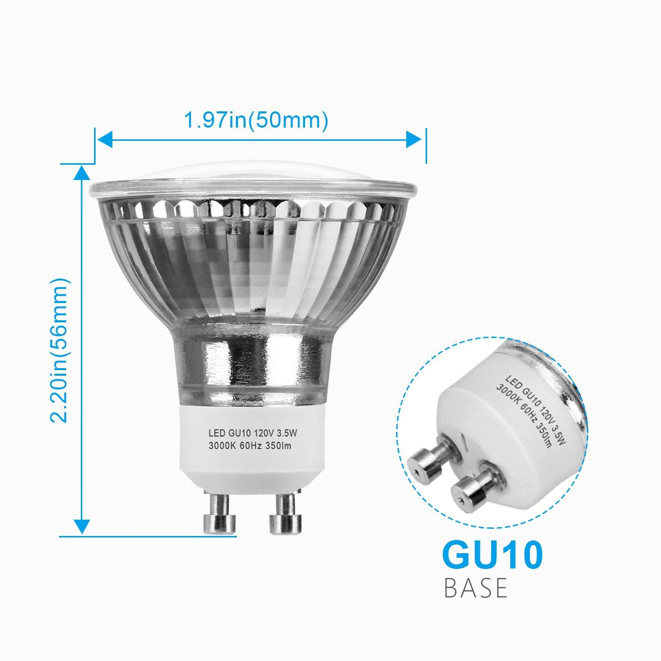 Gu10 Led Bulbs 50watt Halogen Equivalent Shine Hai Warm White Spotlight Bulbs Gu10 Base 3 5w Mr16 120volt Nondimmable Led Light Bulbs Led Bulb Spotlight Bulbs