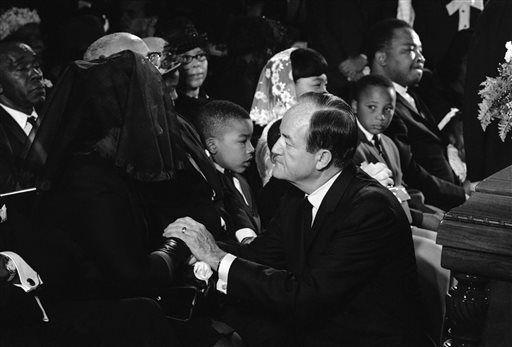 Vice President Hubert Humphrey Speaks To Mrs Coretta King Jr Before