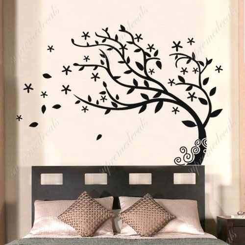 Custom Color PopDecals   Bedroom Decor Must Have   Elegant Tree   Stickers  Removable Vinyl Wall Art Decals: Home U0026 Kitchen Part 41