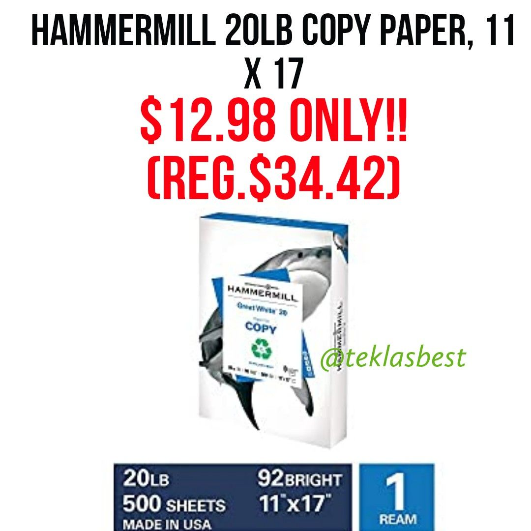 Hammermill Great White 30 Recycled 20lb Copy Paper 11 X 17 1 Ream 500 Sheets Made In Usa Susta In 2020 Copy Paper Sheet Of Paper Family Tree Farms