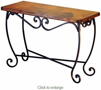 Pio Iron Base Console Table With Copper Top Moveis De Metal
