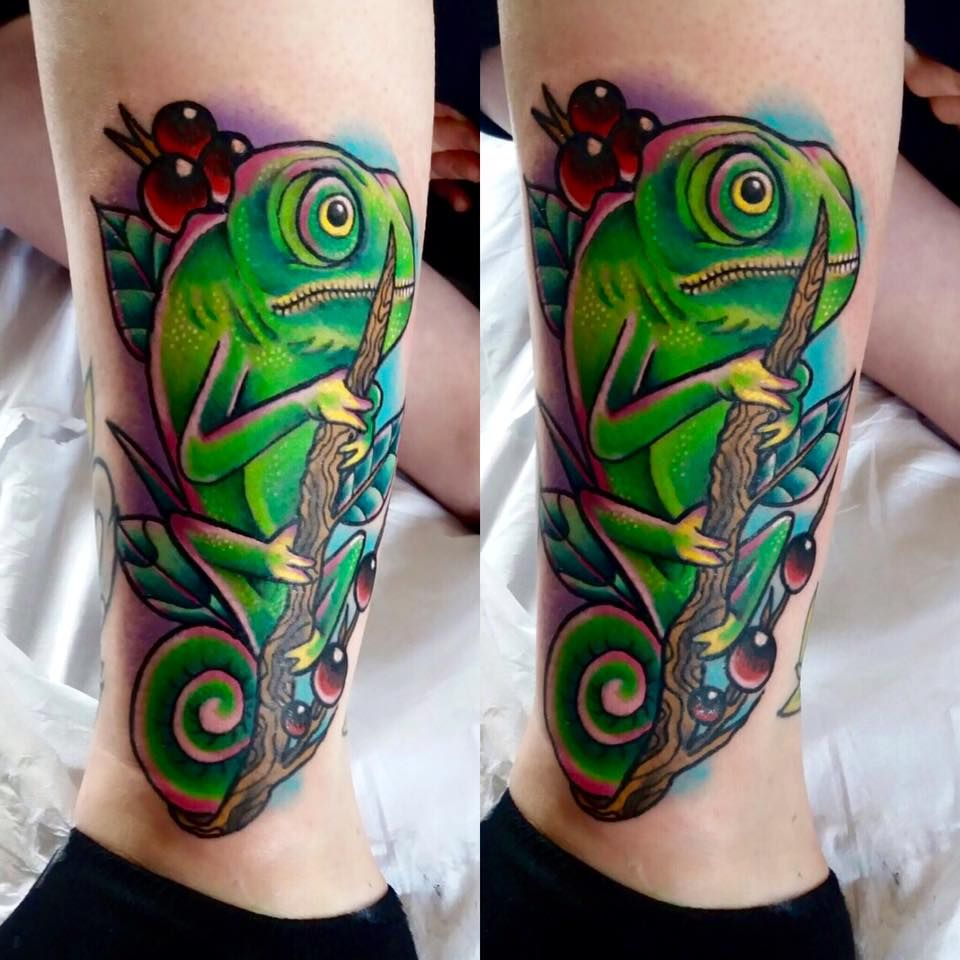 Chameleon Tattoo By Nathan Limited Availability At Revival Tattoo