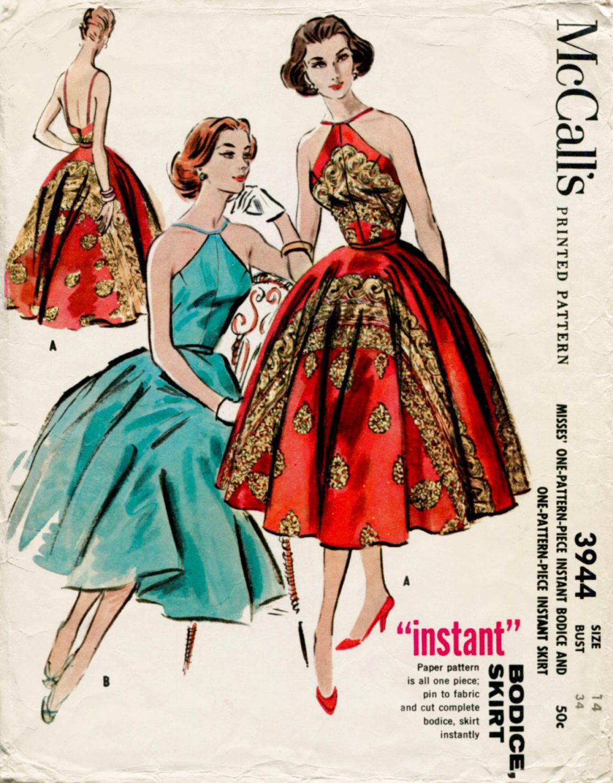 1960s 60s vintage sewing pattern halter cocktail dress evening frock ...