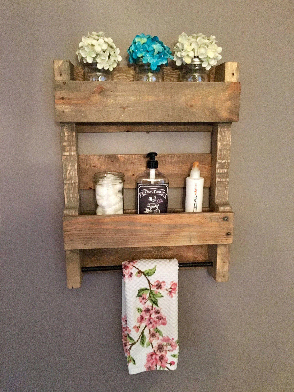 Pallet Bathroom Organizer; Wooden Bathroom Wall Shelves; Rustic ...
