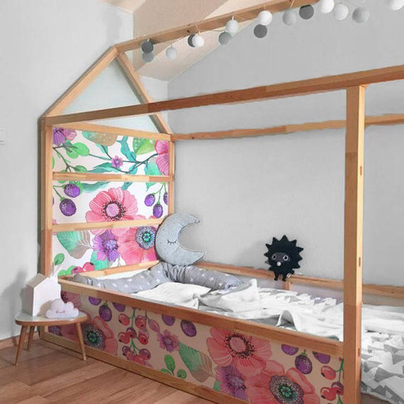 Ikea Kura Bed Adesivi Rimovibili Fiori E Frutti Decalcomanie Etsy Ikea Kura Bed Ikea Kids Bed Ikea Kids Furniture