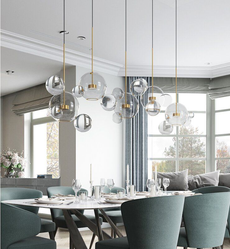 Brayden Studio Viburnum Stems And Balls 7 Light Led Globe Chandelier Wayfair Pendant Lighting Dining Room Dining Room Chandelier Chandelier In Living Room