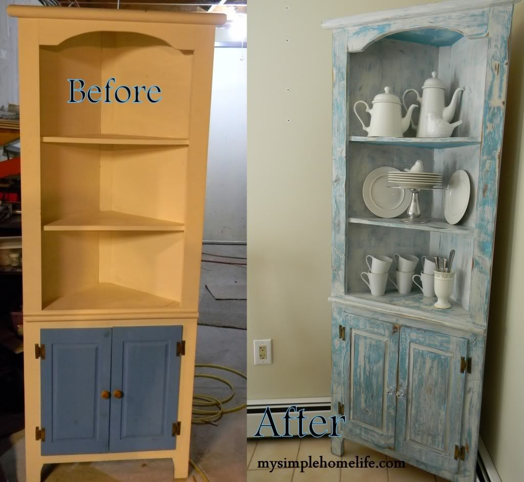 Painted furniture ideas before and after - Painted Furniture Before And After Here Is The Corner Hutch Before And After Photo