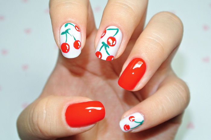 Cherry Red Nails Cherries On White Background Nail Art With Red