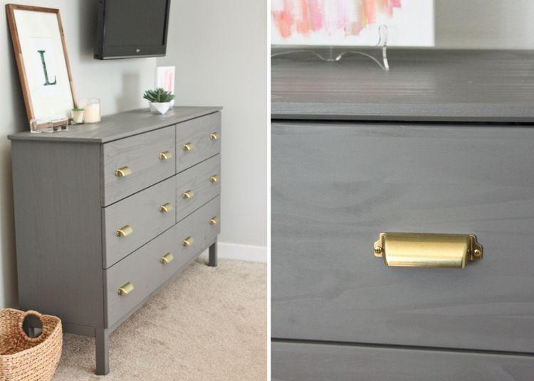 IKEA + Benjamin Moore\u0027s Chelsea Gray paint + Martha Stewart Bedford