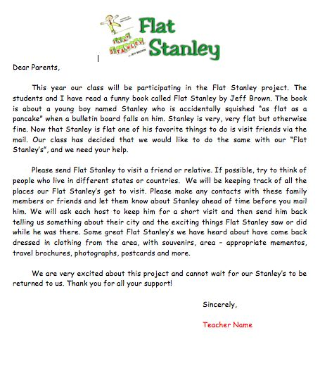 Flat Stanley Template Flat Stanley Letter To Parents Host Letter Host Directions