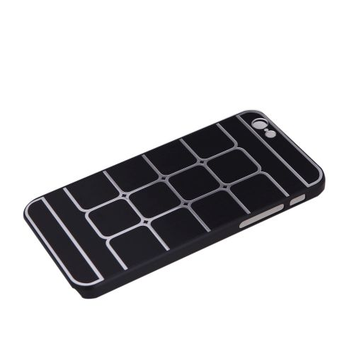Lattice Grid Protective Brushed Aluminum Hard Back Case Cover Skin for Apple iPhone 6 Black