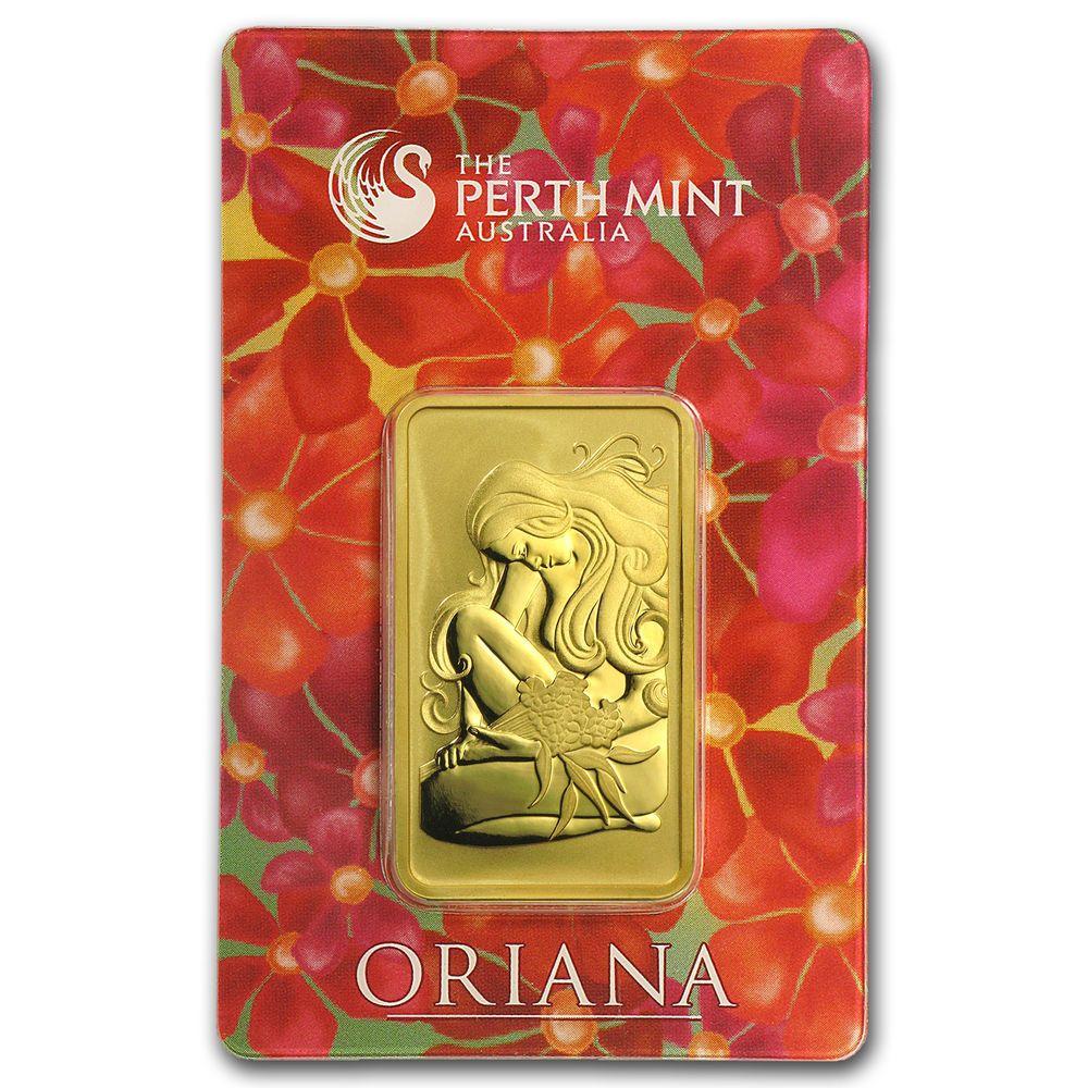 1 Oz Gold Bar Perth Mint Oriana Design In Assay Sku 23565 Gold Price Chart Gold Bar Gold Bullion