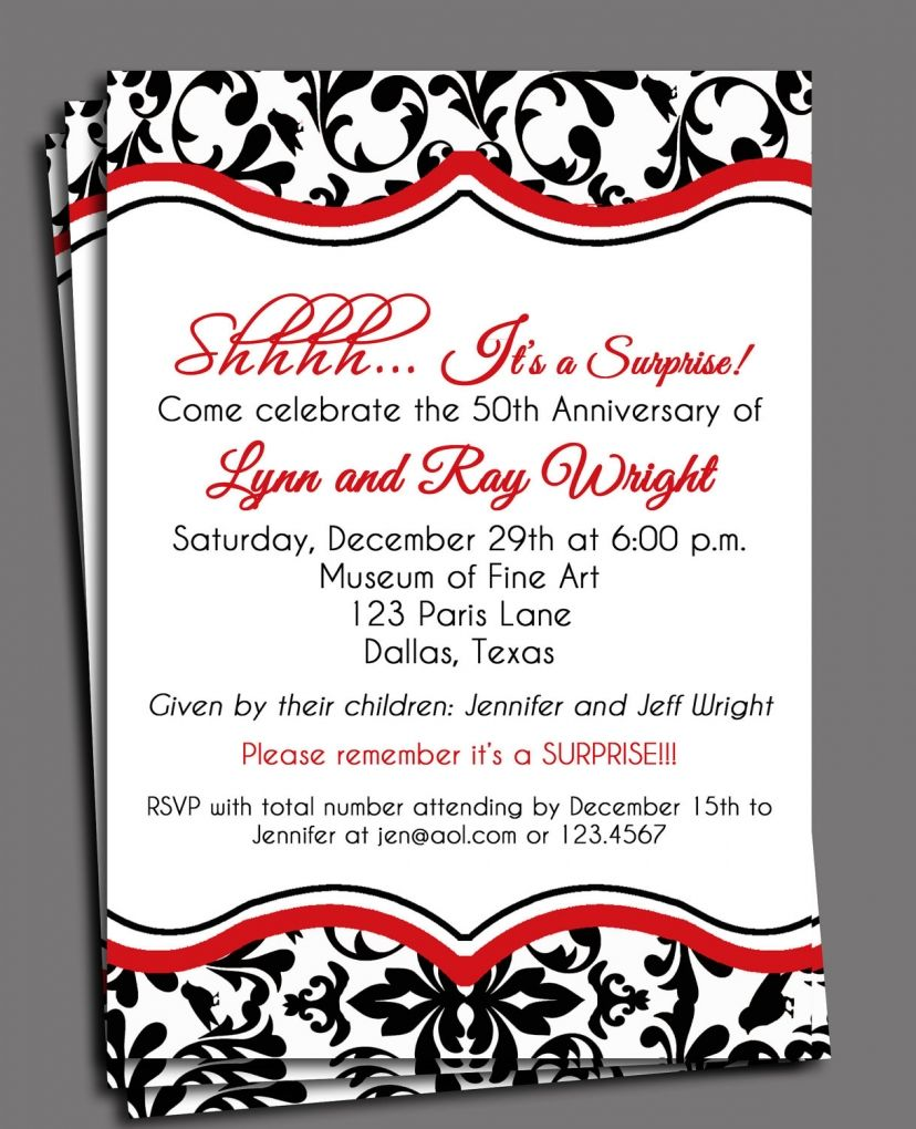 Surprise anniversary invitations templates