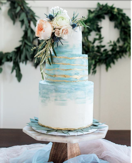 Dusty Blue Watercolor Gold Handpainted Cake Maeflour Cakes In