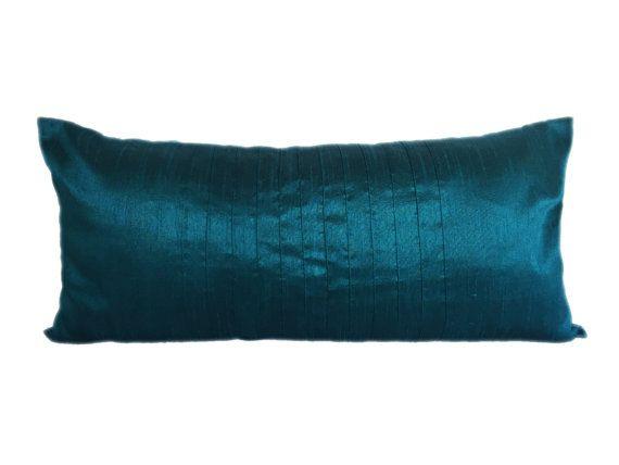 Plain Teal Lumbar Pillow Cover Plain Teal Pin Tucks Pillow Solid