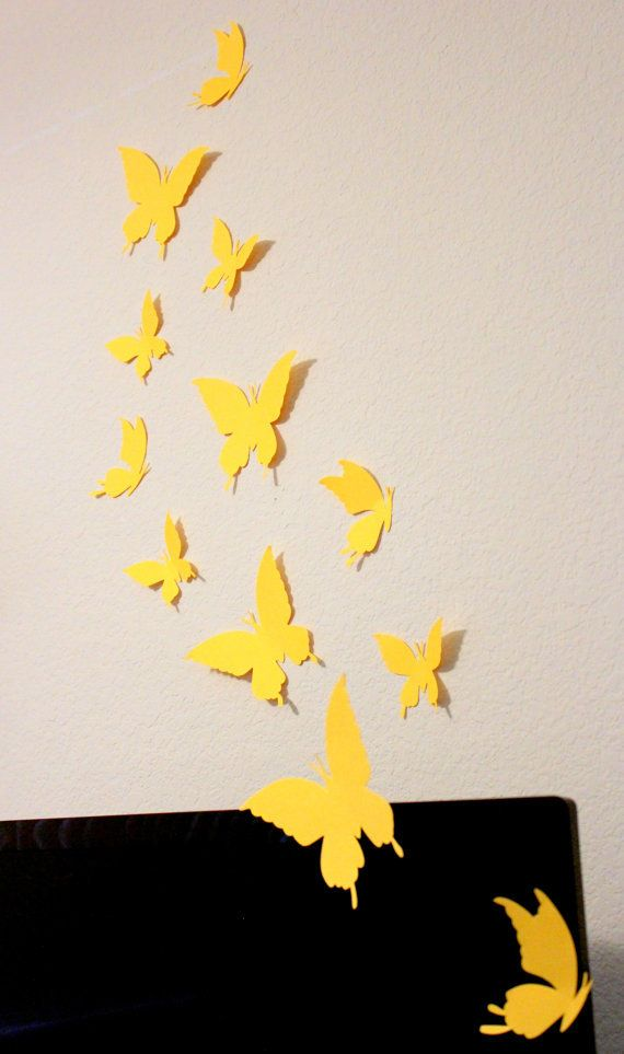 Yellow Butterflies, Paper Butterflies, Wall Arts, Wall hangings ...