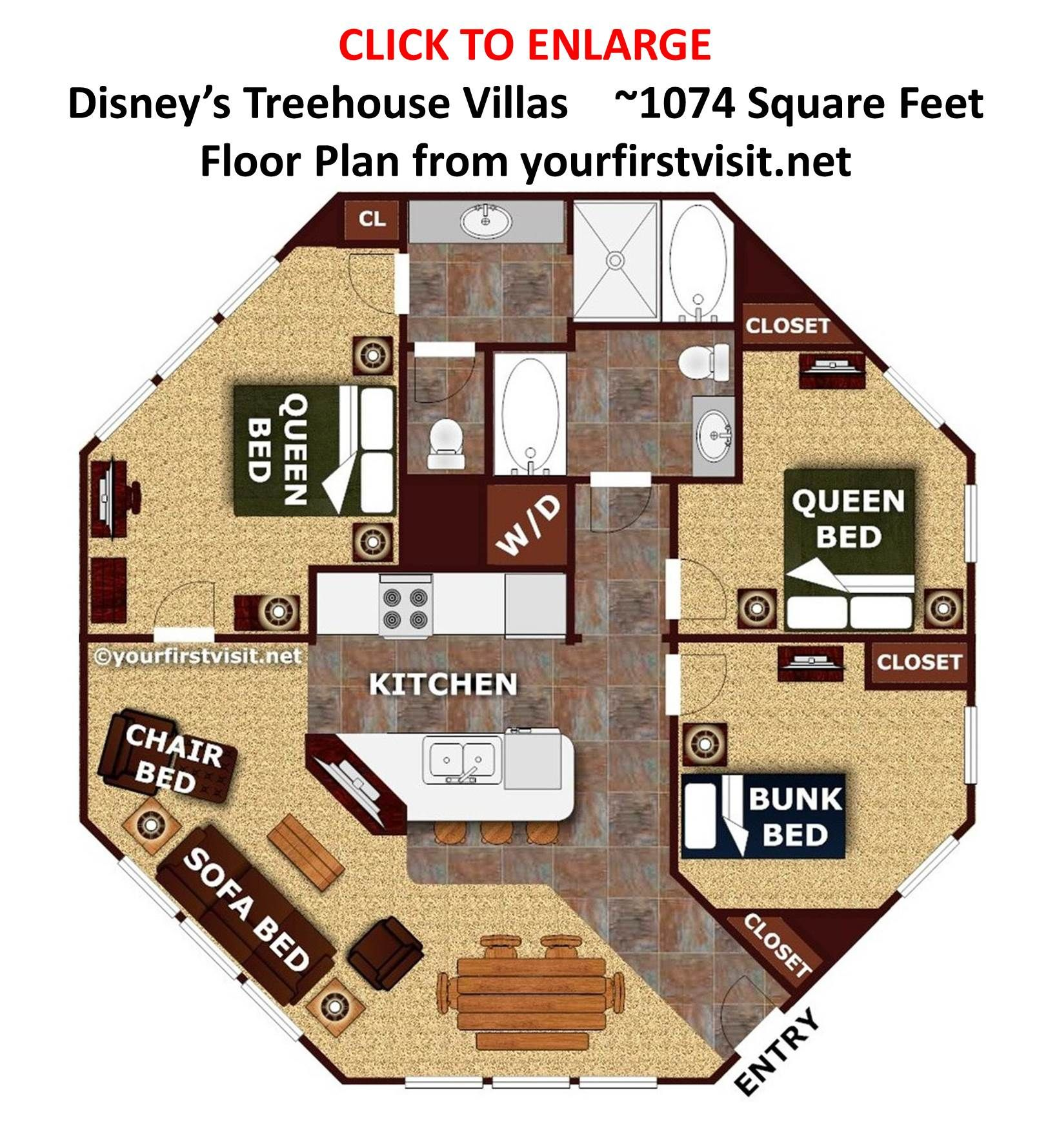 Review the treehouse villas at disney 39 s saratoga springs 3 bedroom villa floor plans