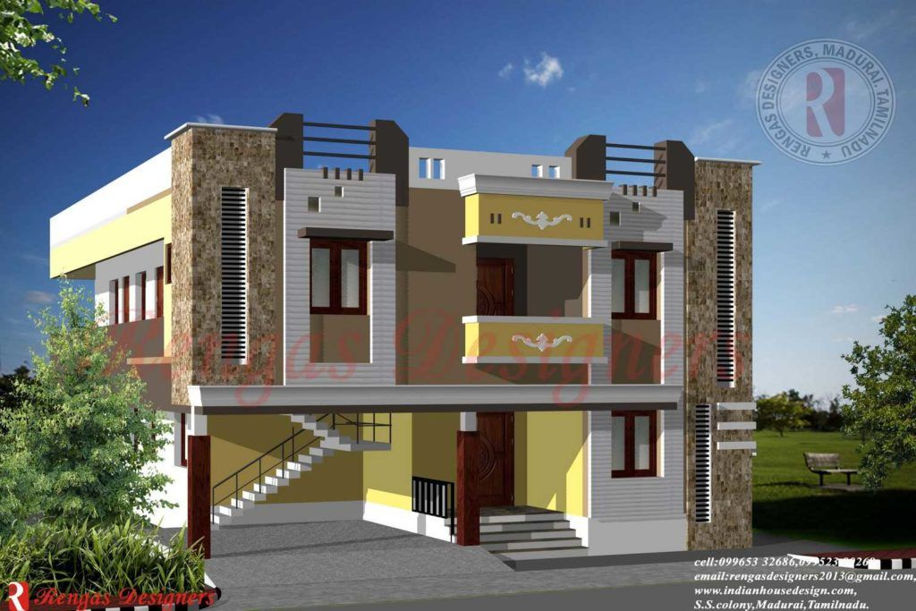 Awesome 3d Modern Front Elevation Design In Tamilnadu Images