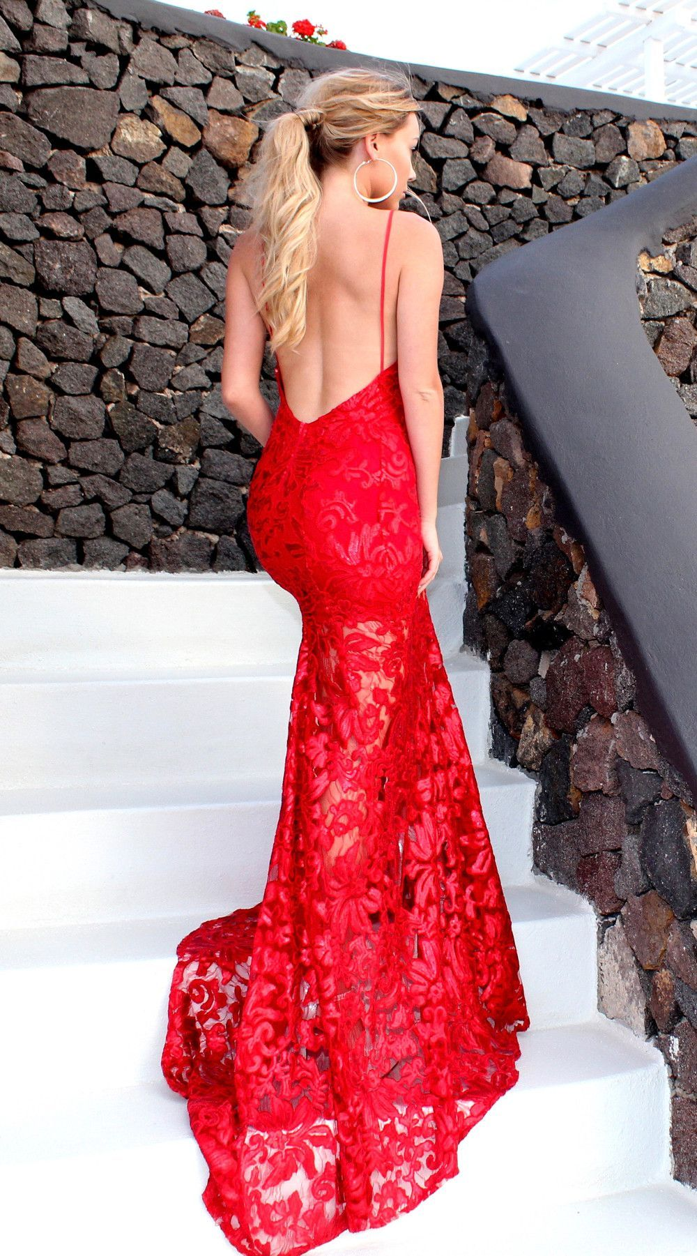 Runaway red backless fishtail evening formal dress by studio minc