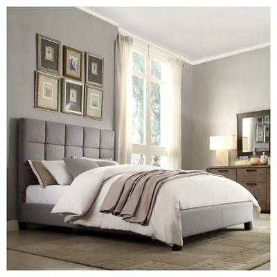 Garvey Upholstered Bed Gray Linen (Queen) - Homelegance
