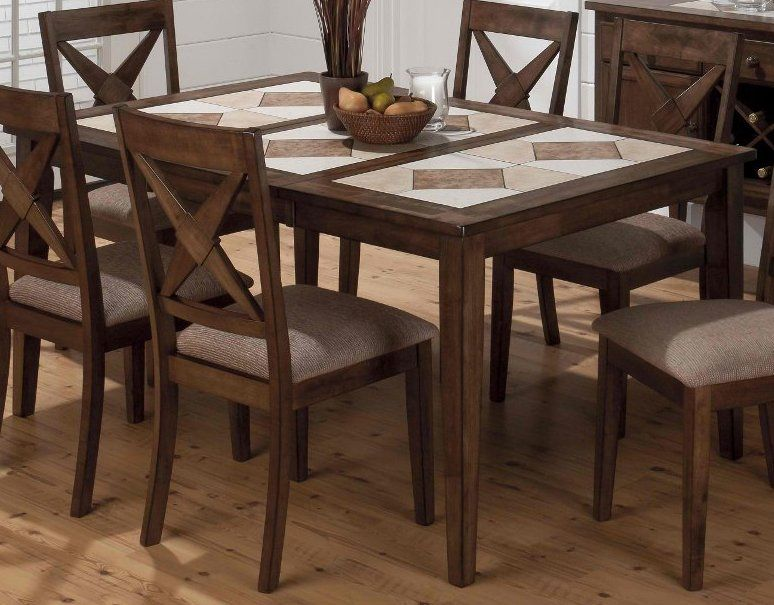 Jofran Tucson Brown 64x41 Rectangular Tri Color Tile Top Dining Table W Butterfly Leaf In Medi Wood Dining Room Set Rustic Dining Room Sets Brown Dining Table