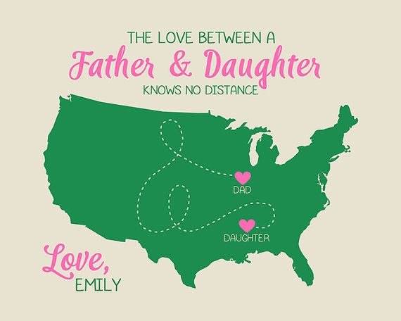 Gift For Dad Long Distance Map Gifts The Love Between Father And