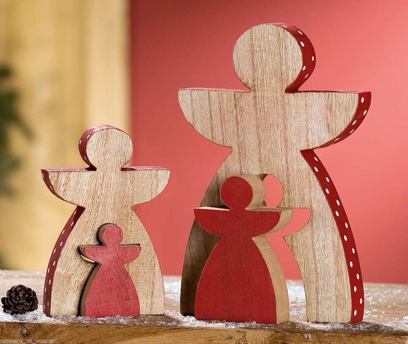 Weihnachtsdeko Weihnachtsfiguren aus Holz zum Hinstellen ...