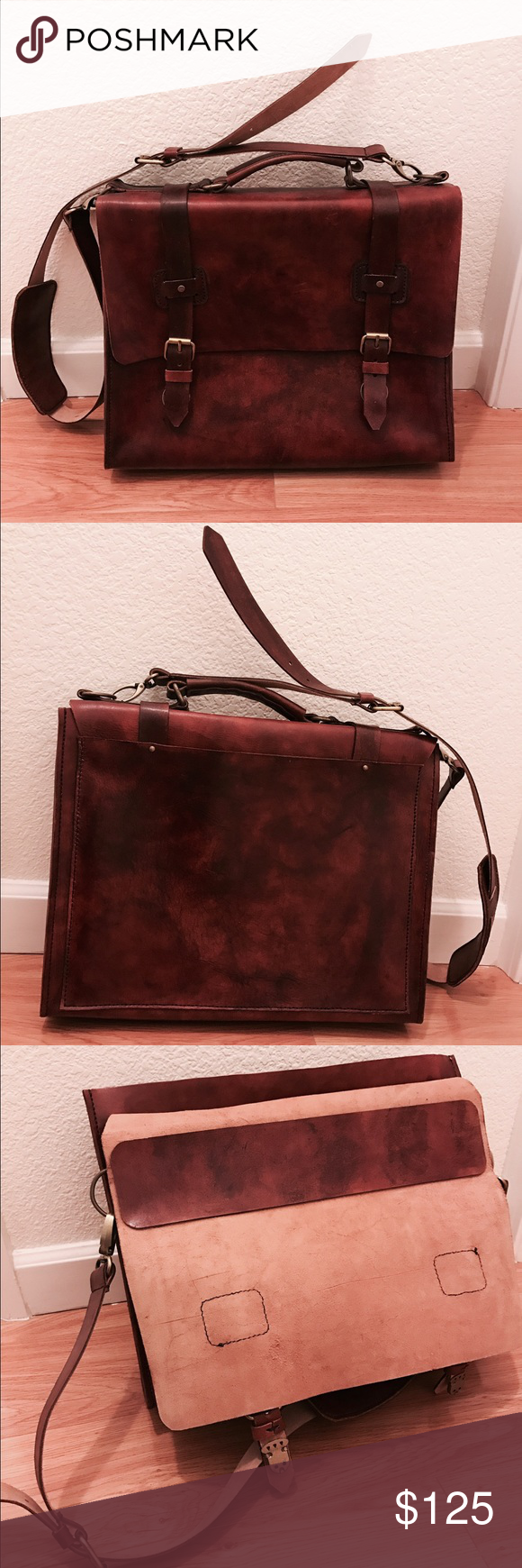 """Vintage Leather Bag Brand new. Brown color. Firm frame. Can carry laptop from 13 - 15"""" Vintage Bags Messenger Bags"""