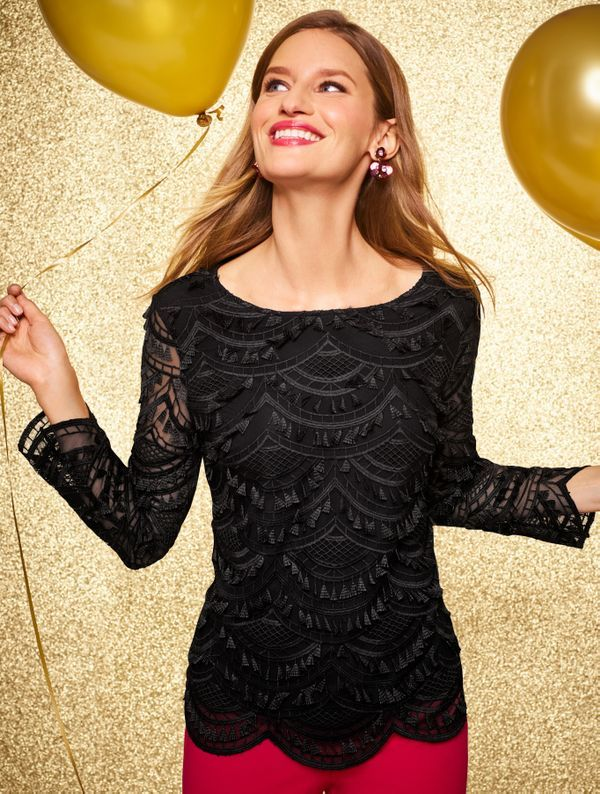 cb211e149a8 Check. Fringe  Check. Lace  Check. A flattering top with a delicate lace  overlay. The scalloped hem and flirty eyelash fringe make it perfect for  every ...