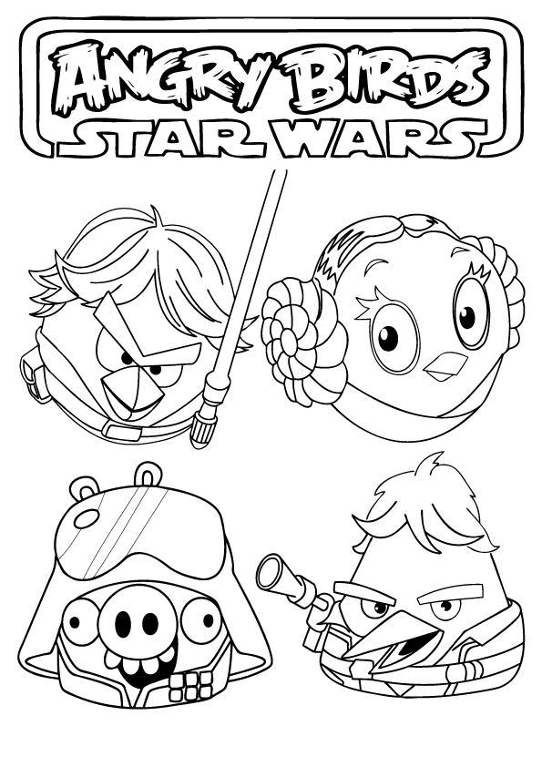 Angry Birds Use The Force Star Wars Printable Angry Birds Star Wars Coloring Pages