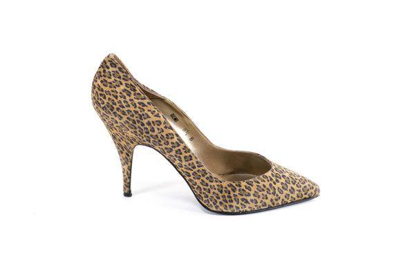 Cheetah Print Leather Heels Vintage 80s by FiregypsyVintage