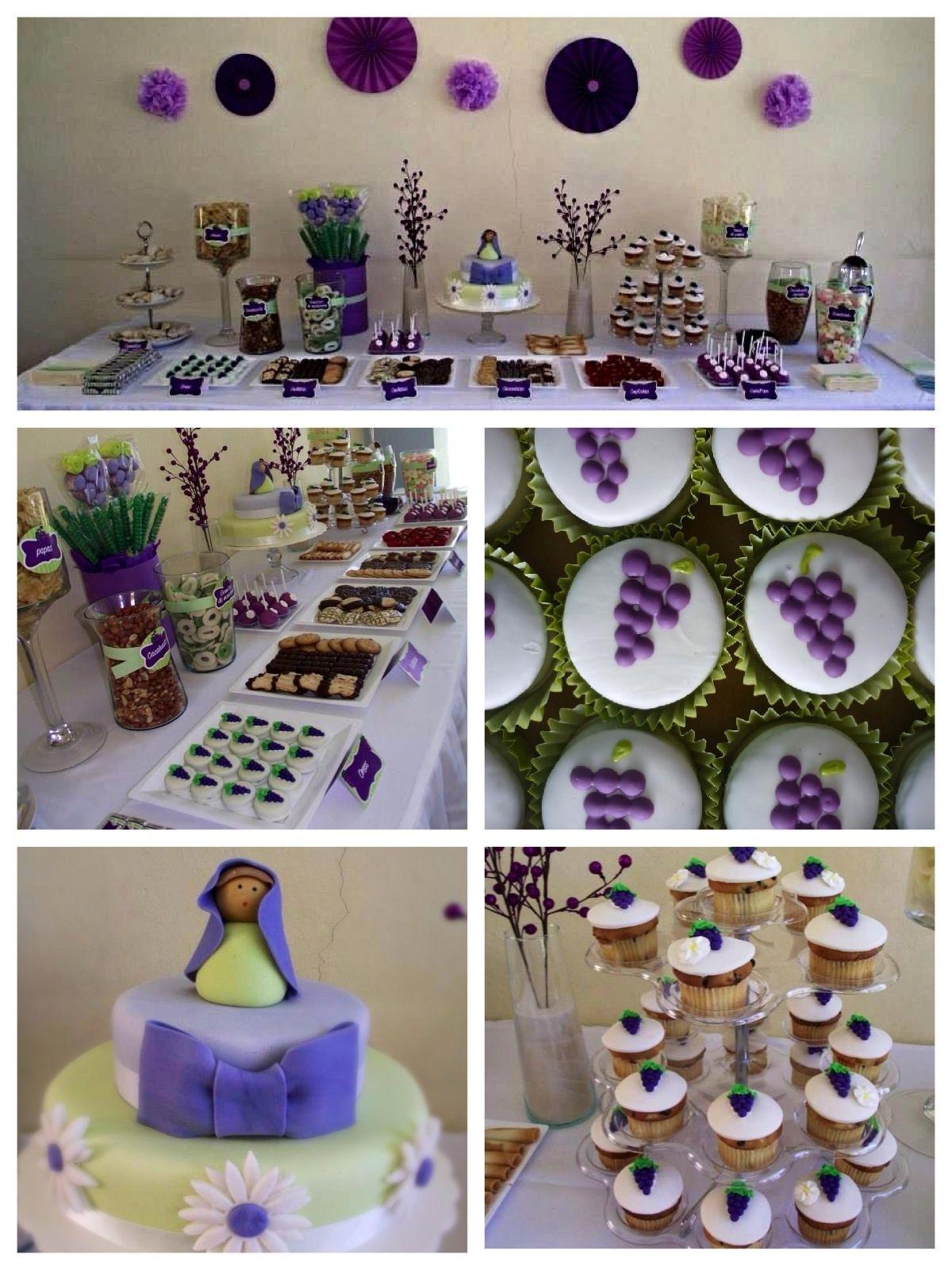 Candy Buffet de Primera uni³n en colores verde blanco y morado