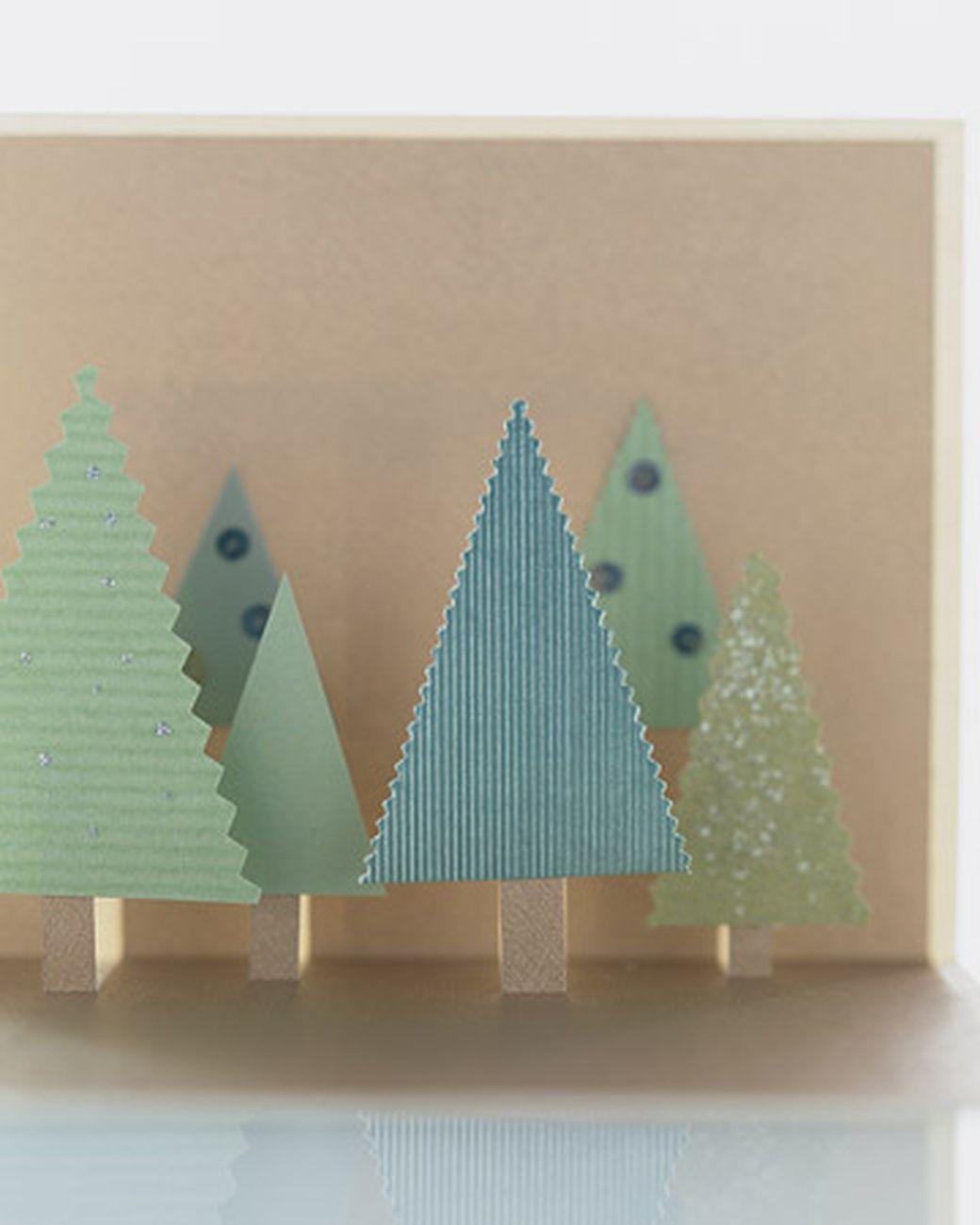Объемная открытка с елками домиками, открытки фото онлайн