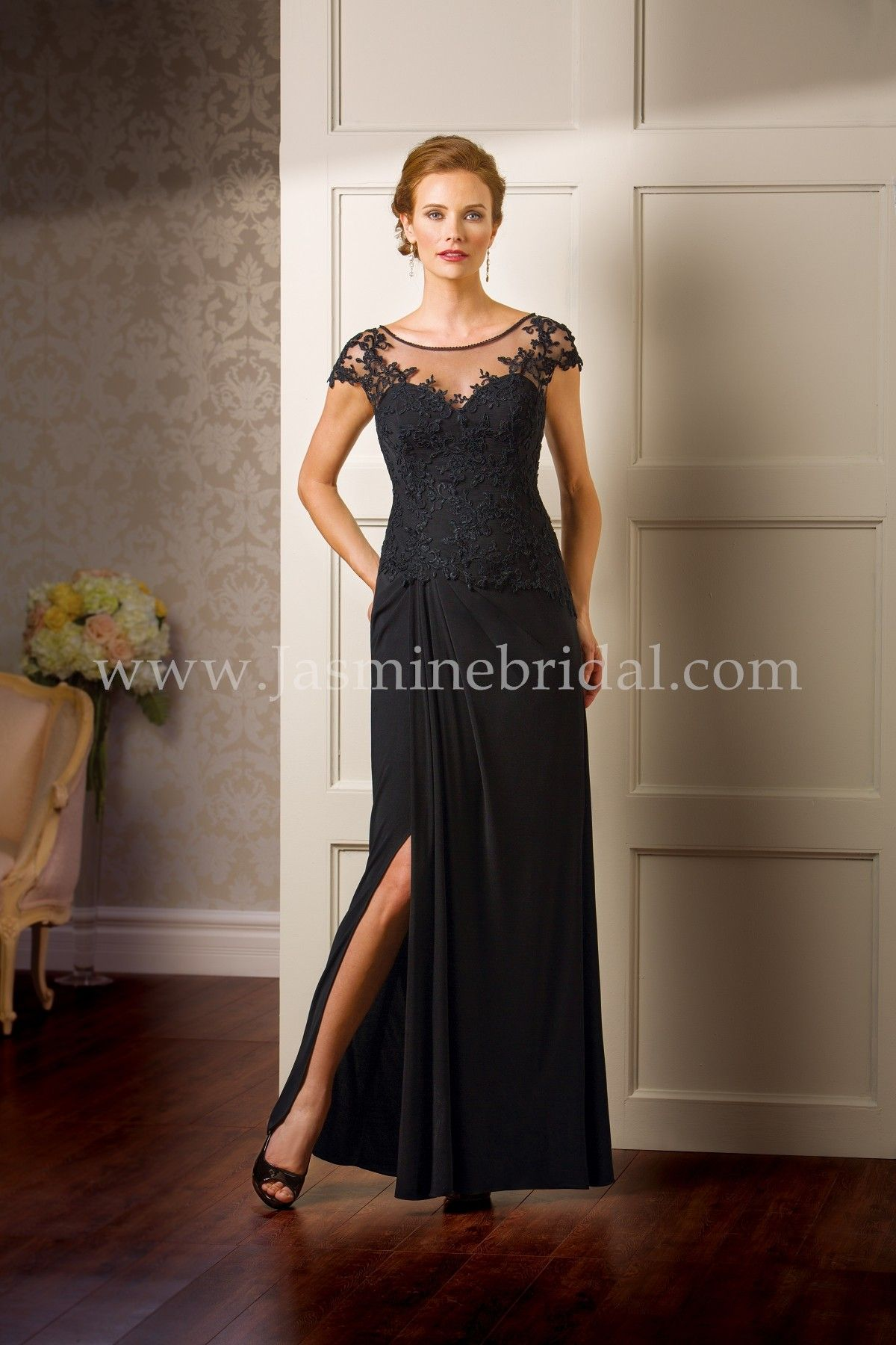 Jasmine Bridal Jade Couture Style K178065 In Black This Sheath Mother Of The Bride Dress With An Illusion Boat Neckline Is A Great Choice For Your